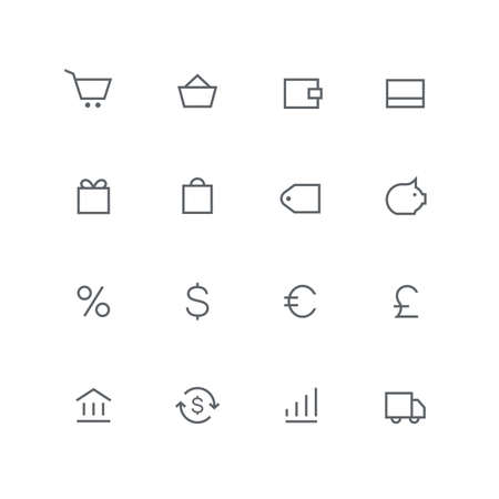 Main outline icon set - shopping cart, basket, wallet, credit card, gift card, bag, price, coin box, percent, bank, exchange, graph and car symbol. Finance, stock market, money and currency vector signs.
