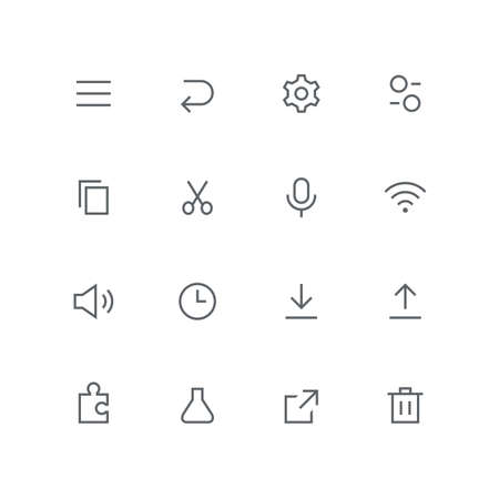 Main outline icon set - menu, arrow, gear wheel, switch, file, scissors, microphone, wifi, loudspeaker, clock, puzzle, test tube, link and basket symbol. Internet, system and technology vector signs.