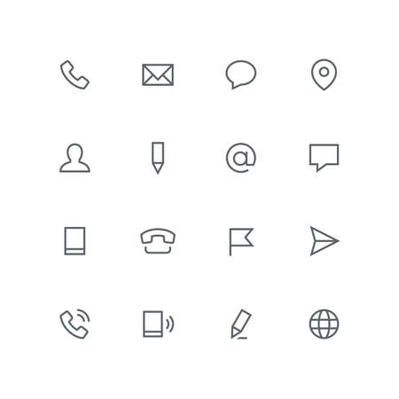 Main outline icon set - phone, envelope, chat, address, man, pen, mail, message, mobile, flag, airplane and globe symbol. Contacts and business vector signs. Иллюстрация