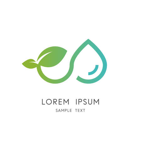 Infinity nature - sprout with water leaves and drop of water symbol. Ecology, environment and agriculture vector icon.