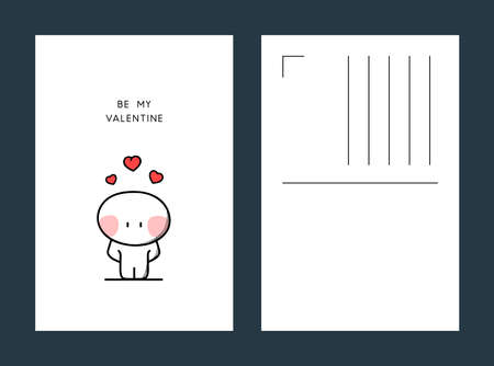 Be my valentine postcard shy cartoon character with red hearts above the head. Love confession illustration, greeting card vector template.