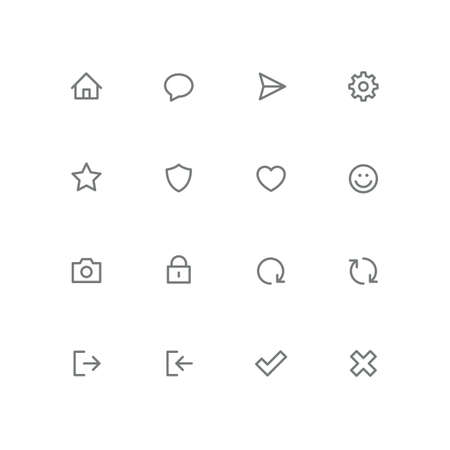 Bold outline icon set home, chat, airplane, gear, star, shield, smile Internet and social network vector signs.