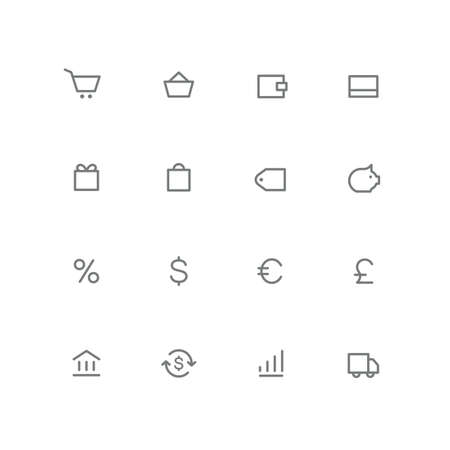 Bold outline icon set shopping cart, basket, wallet, credit card, gift, bag, price, coin box, percent, bank, exchange, graph and car symbol. Finance, stock market, money and currency vector signs.
