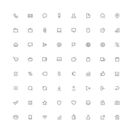 Gesamtes abgerundetes Icon-Set für Internet- und Website-Symbole