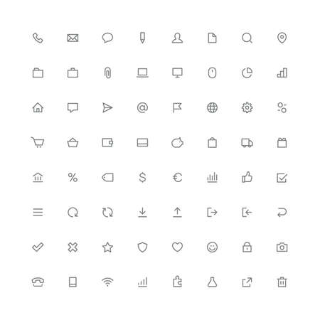 Total rounded icon set internet and website symbols 向量圖像
