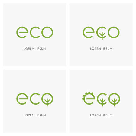 Green eco - gear wheel and tree symbol
