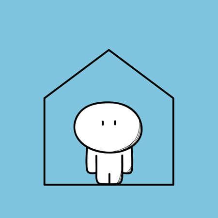 Cute single man alone at home 版權商用圖片 - 149007540