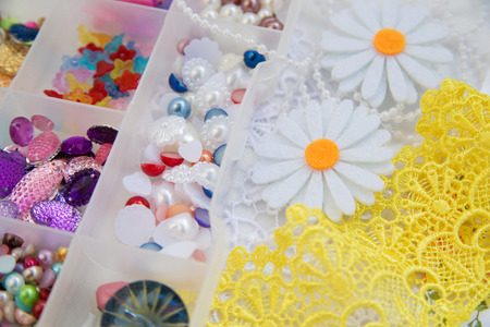 rhinestones and lace for needlework