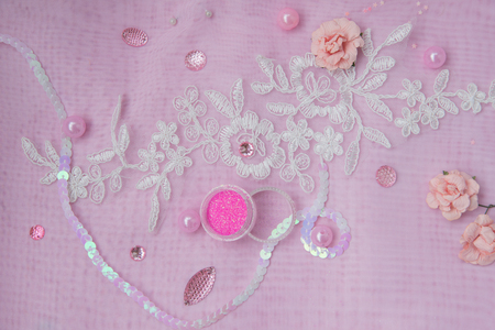 sequins: pink rhinestones, paper flowers, sequins and beads