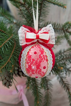 Christmas fishnet, vintage ball on fir branches Stock Photo