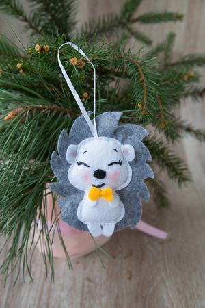 soft felt toy stitched with threads manually Stock Photo