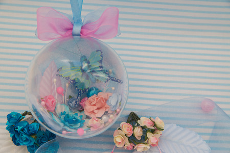 blue decorative bowl with flowers and butterfly Stock Photo