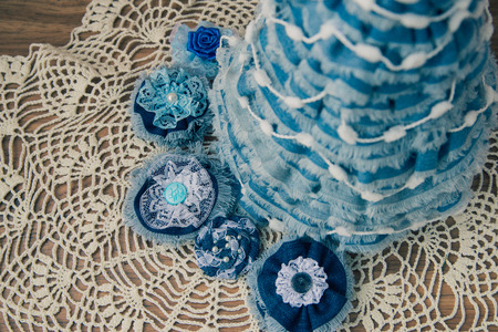Christmas decor from jeans,lace, crystals and ribbons