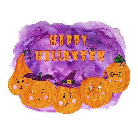 bright card cute pumpkins for funny halloween Stok Fotoğraf