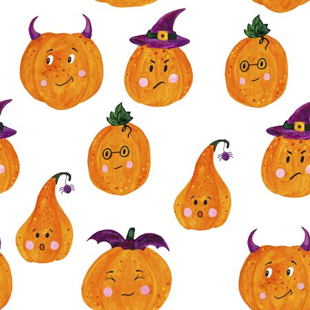 bright seamless pattern pumpkins for funny Halloween