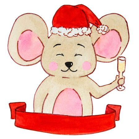 watercolor drawing cute, beige mice with emotions