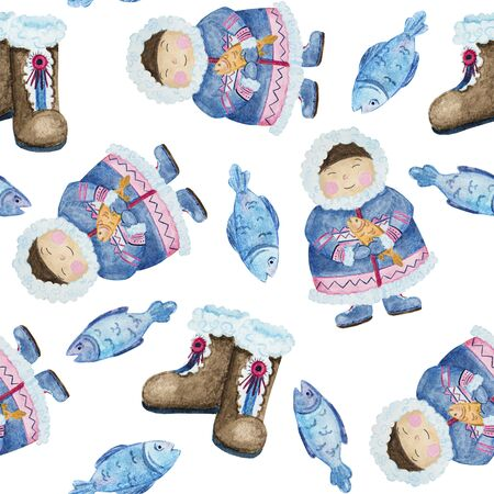 seamless pattern cute eskimos in ethnic clothing set blue, pink watercolor Stok Fotoğraf - 133471572