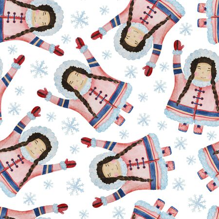 seamless pattern cute eskimos in ethnic clothing set blue, pink watercolor