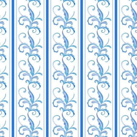 blue, decorative, winter seamless watercolor patterns