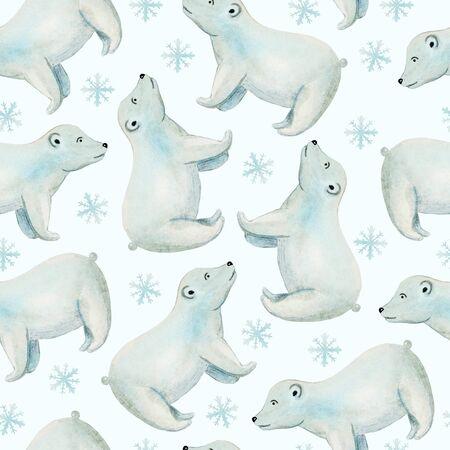 polar bear in watercolor cartoon style seamless pattern 版權商用圖片