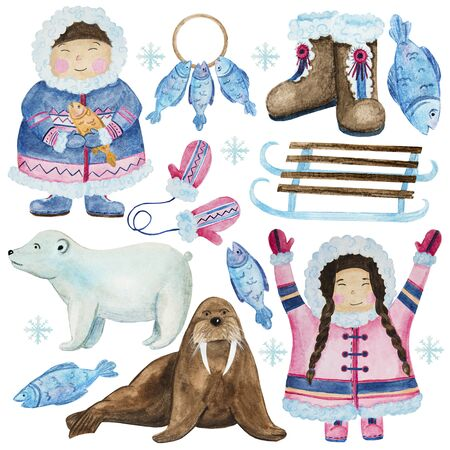 .cute eskimos in ethnic clothing set blue, pink watercolor.