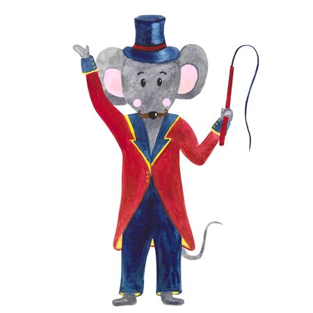 .watercolor illustration mustachioed mouse trainer in tailcoat whip hat Foto de archivo - 133471655