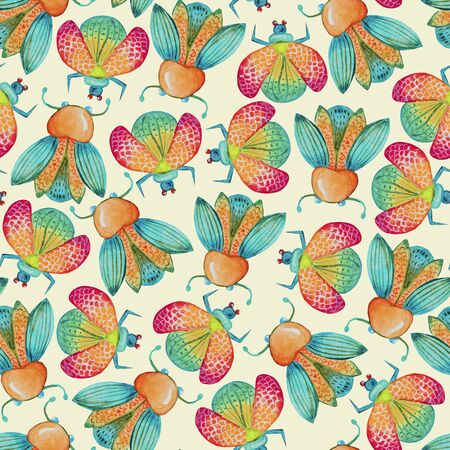 watercolor seamless vivid beetles pattern.