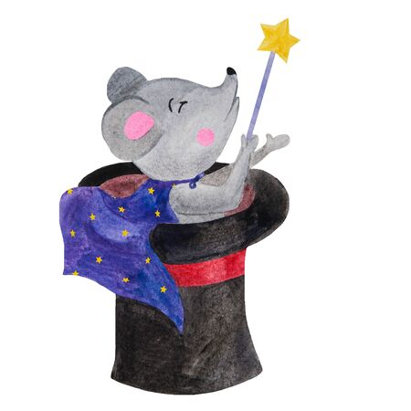 .mouse magician sitting in a black hat with a magic wand watercolor illustration Foto de archivo - 133471663