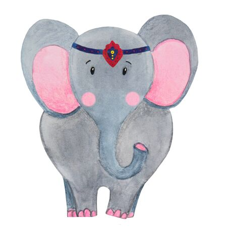 .watercolor illustration of a gray circus elephant with pink cheeks stands Foto de archivo - 133471667