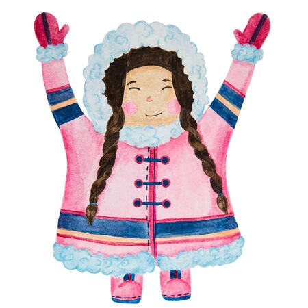 .cute eskimos in ethnic clothing set blue, pink watercolor. Stok Fotoğraf - 133471722