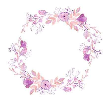 soft pink bouquet, watercolor frame on a white background Standard-Bild - 133471755