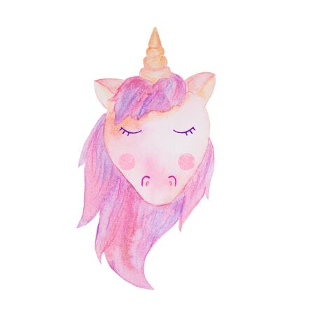 .soft pink lilac unicorn isolated watercolor illustration