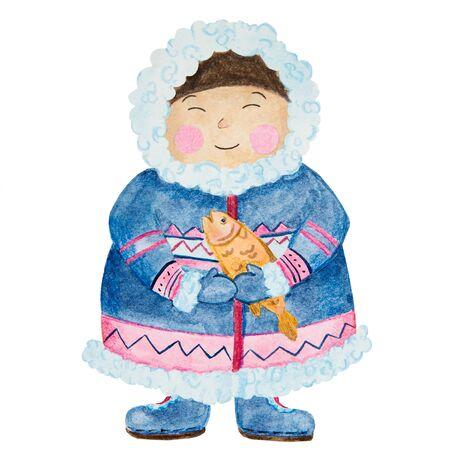 .cute eskimos in ethnic clothing set blue, pink watercolor.