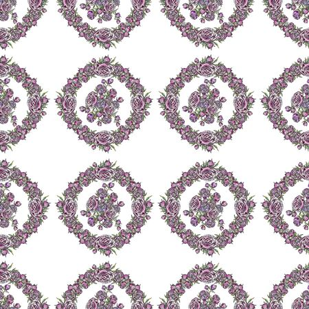 watercolor seamless pattern lilac peonies with buds and leaves stroke on a white background sketch