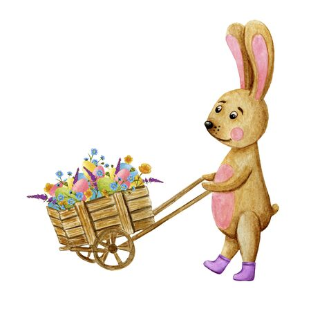 watercolor Easter card with a wooden trolley filled with eggs and flowers, place for text Фото со стока