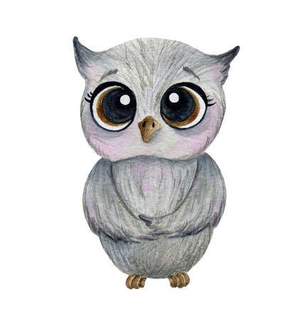 cute gray owl with big eyes watercolor, children illustration Foto de archivo - 137860946