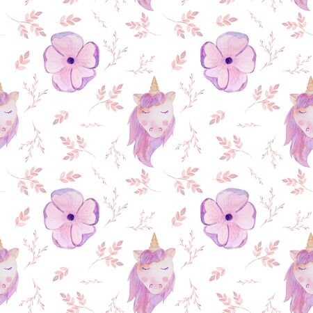 seamless pattern pink unicorn and flowers watercolor valentines day Фото со стока