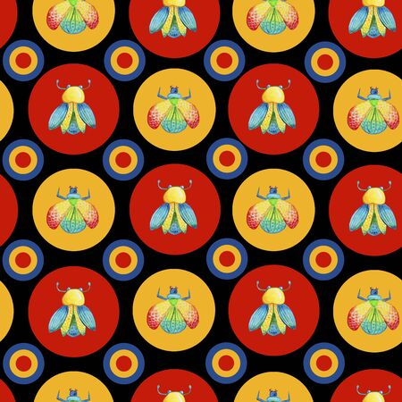 watercolor seamless bright patterns of beetles in bright circles, geometric