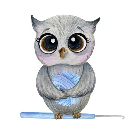 Set gray owl with a blue clew on a white background. Watercolor in cartoon style. Фото со стока