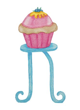 watercolor cupcake, sweet, color, fruit, childrens illustration, sketch