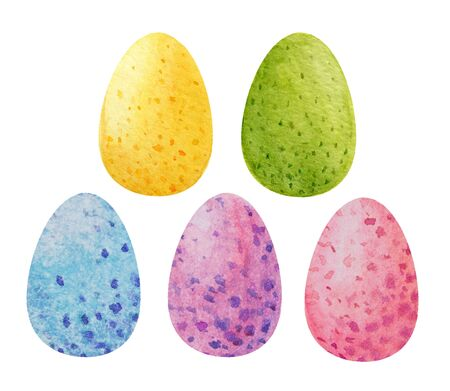Seth colored easter eggs with spots. Watercolor illustration. Clipart on a white background