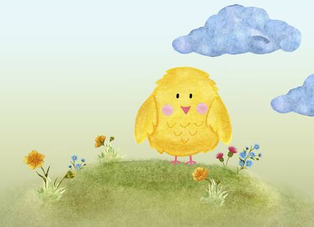 Greeting card yellow chicken on a hill watercolor illustration with place for text Фото со стока