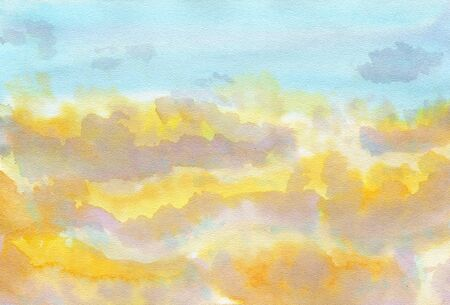 sunset sky with clouds.Watercolor background blue, yellow, pink.Illustration brush