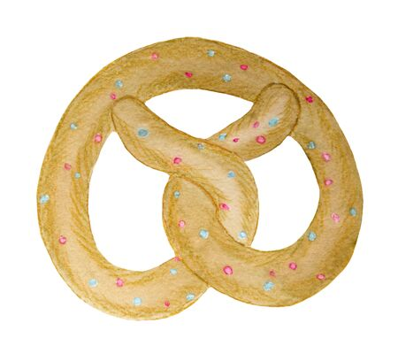 watercolor bagel, sprinkled with sweet, color, fruit, childrens illustration, sketch