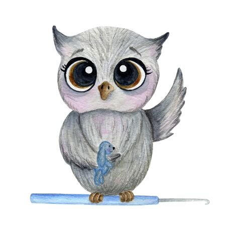 A gray owl sits on a crochet hook, holds a toy. Watercolor illustration. Isolate on a white background.