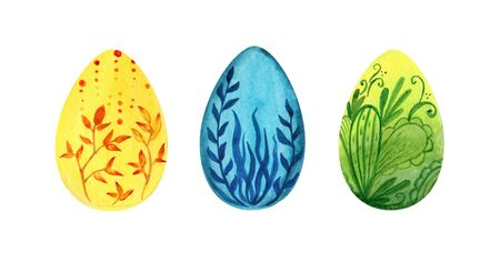 Easter set of hand painted eggs, watercolor illustration with floral patterns. green, blue, yellow