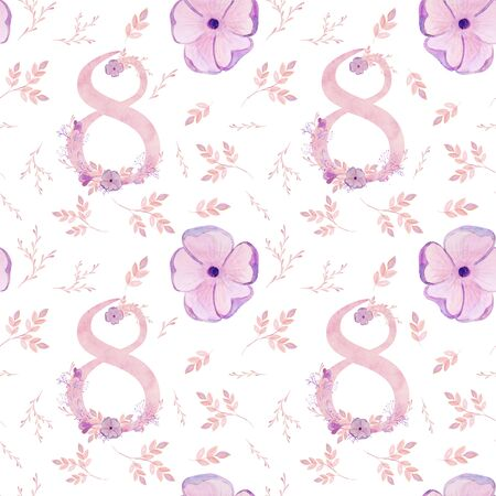 March 8 seamless pattern. International Womens Day. Watercolor illustration, delicate pink flowers. Фото со стока
