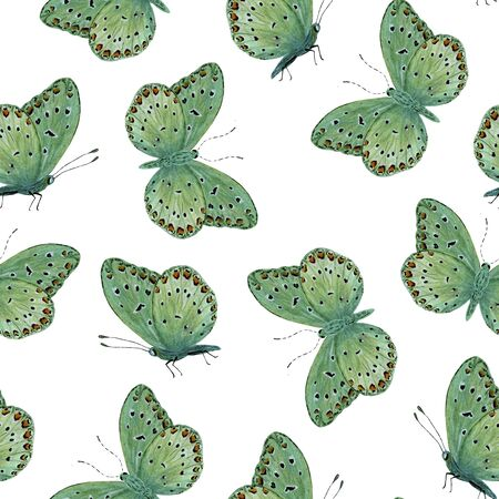 seamless pattern green tropical butterfly with red spots watercolor