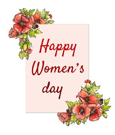 Postcard from March 8! Banner International Womens Day, on a white background. Illustration of red poppies on a white watercolor background.
