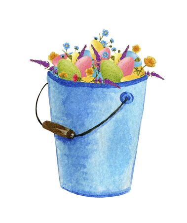 blue metal, garden bucket with a handle, with easter eggs and flowers in watercolor